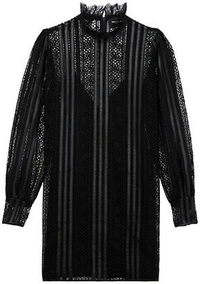 The Kooples Robe Highneck Sheer Dress