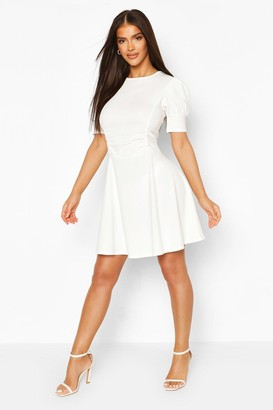 boohoo Puff Sleeve Ruched Waist Skater Dress