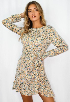 Missguided Mustard Floral Print Ruched Side Tea Dress