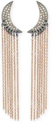 Siena Jewelry Diamond Moon Chain Drop Earrings in 14K Rose Gold