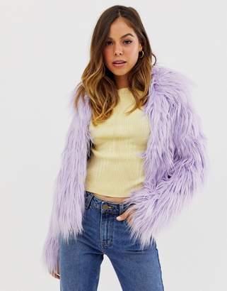 Glamorous faux fur coat in lilac-Purple