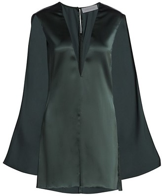 Marina Moscone Sheer Inlay Satin Cape Top