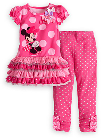 Disney Minnie Mouse Pink Knit Dress and Leggings Set for Girls