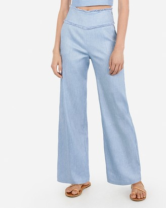 Express Super High Waisted Linen-Blend Fringe Wide Leg Pant