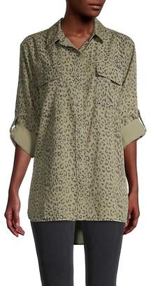 Pure Navy Leopard Print Button-Down Shirt