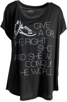 Style&Co. Style & Co. Womens Plus Knit Dolman Sleeves Graphic Tee Black