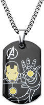 Iron Man FINE JEWELRY Marvel Mens Stainless Steel and Black IP Dog Tag Pendant Necklace