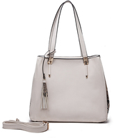 Beige Tassel Crossbody Tote & Messenger Bag