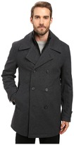 Andrew Marc Cushing Pressed Wool Peacoat w/ Removable Quilted Bib