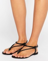Asos FIXATION Plaited Leather Flat Sandals