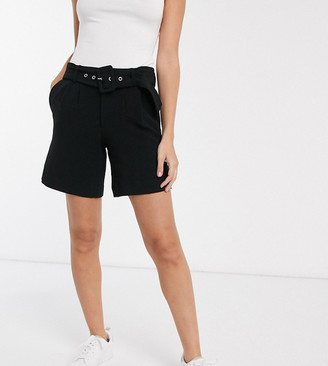 Vero Moda Petite city shorts with belt in black