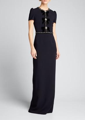 Jenny Packham Velvet-Bowed Cap-Sleeve Gown