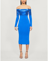 David Koma Off-the-shoulder sequin-embellished knitted midi dress