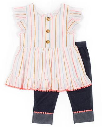 Little Lass Girls' Leggings IVORY - Ivory Stripe Button-Front Top & Denim Skimmer Jeggings - Infant