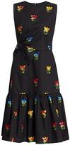 Carolina Herrera Tulip Silk Jacquard Bow Dress
