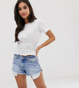 Asos DESIGN Petite t-shirt with shirred waist