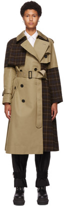 Sacai Beige Windowpane Check Panel Two-Tone Trench Coat