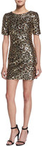 French Connection Leo Lux Embellished Mini Dress, Gold