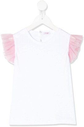 Il Gufo Tulle-Sleeve Top