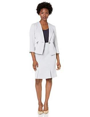 Le Suit Women's Petite Jacquard 1 Button Zipper Pocket Skirt Suit