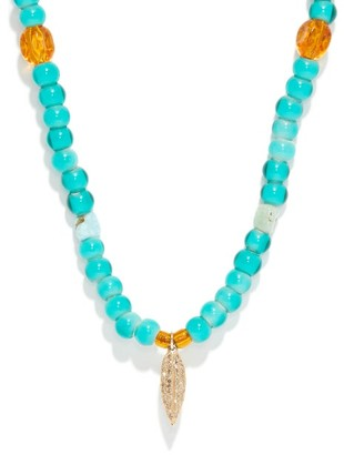 Musa By Bobbie - Diamond, Turquoise & 14kt Gold Beaded Necklace - Turquoise