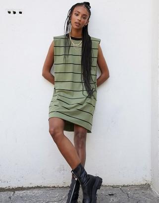 ASOS DESIGN padded shoulder sleeveless mini t-shirt dress in khaki and black stripe
