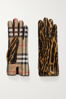Burberry Leather-trimmed Leopard-print Calf Hair And Checked Twill Gloves - Leopard print