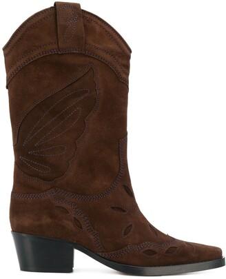 Ganni Stitch Detail Cowboy Boots