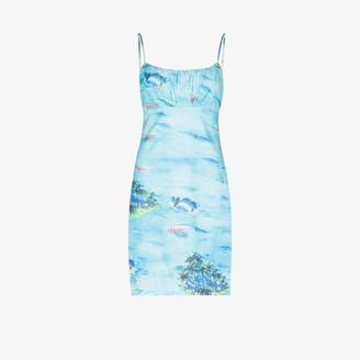 STAUD Bell island print mini dress