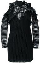 Self-Portrait cut-off shoulders fitted dress - women - Polyester/Spandex/Elastane - 12