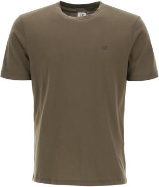 C.P. Company T-SHIRT WITH MICRO LOGO PRINT L Green Cotton