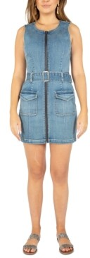 Rewash Juniors' Zip-Front Denim Mini Dress