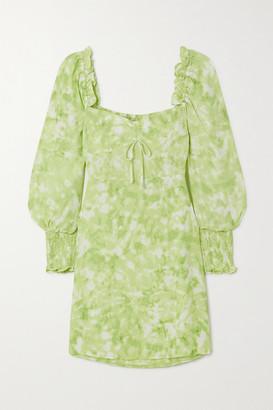 Faithfull The Brand Net Sustain Arianne Ruffled Tie-dyed Crepe Mini Dress - Lime green