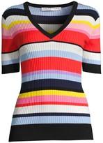 Trina Turk Laurel Striped Rib-Knit Top