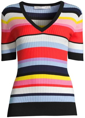 Trina Turk Laurel Striped Rib-Knit Top