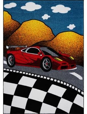 "Zoomie Kids Kindig Car Red/Black Area Rug Rug Size: Rectangle 6'2"" x 9'2"""