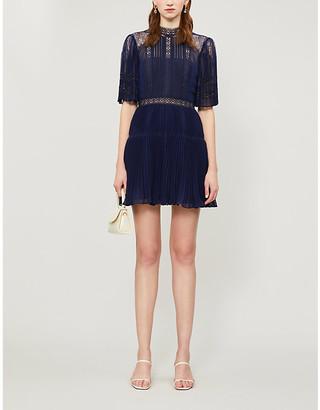 Self-Portrait Fit-and-flare semi-sheer chiffon and lace mini dress