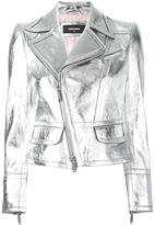 DSQUARED2 metallic biker jacket - women - Calf Leather/Polyester - 40