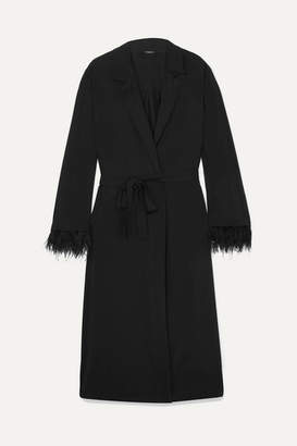 Le Petit Trou - Feather-embellished Jersey Robe - Black