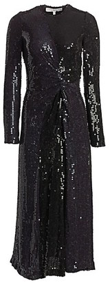 Galvan Sequined Pinwheel A-Line Midi Gown