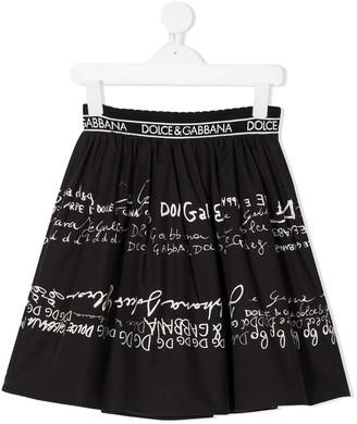 Dolce & Gabbana Kids Doodle Logo Skirt