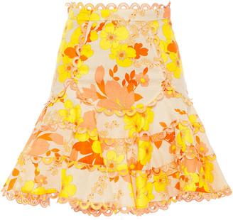 Zimmermann Primrose Flutter Floral-print Linen And Cotton-blend Mini Skirt