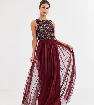 Maya Tall Bridesmaid delicate sequin 2 in 1 maxi dress in wine