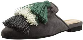 Kaanas Women's MOMPOX Velvet Mule Slide with Tassels Flat Shoe
