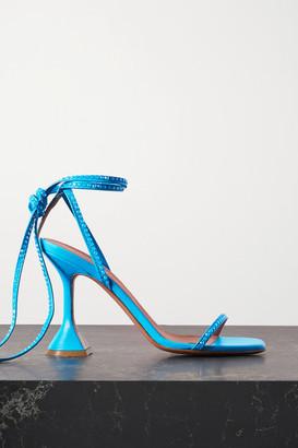 Amina Muaddi Vita Crystal-embellished Leather Sandals - Turquoise