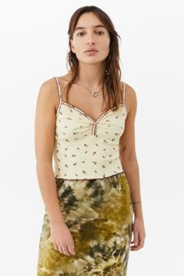 Urban Outfitters Ditsy Floral Sweetheart Cami - Yellow XS at
