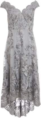 Dorothy Perkins Womens *Grey Embroidered Bardot Dress, Grey