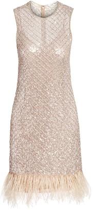 Rachel Gilbert Dixie Hand Embellished Feather-Hem Cocktail Dress