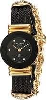 Charriol Women's 'St Tropez' Swiss Quartz Gold-Tone and Stainless Steel Dress Watch, Color:Black (Model: 028BNGP.545.RO005)