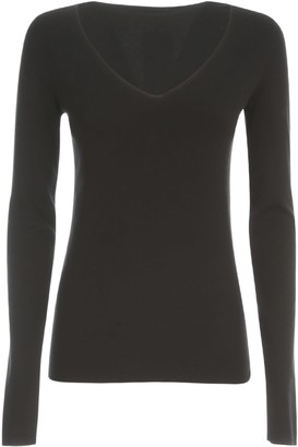 Joseph V Neck L/s Silk Stretch T-shirt